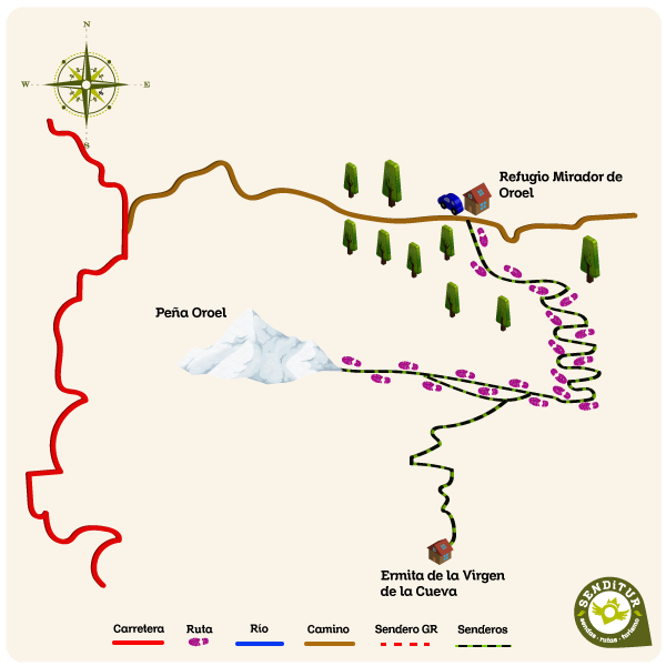 Map of the route Ascent to Oroel Rock