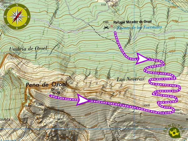 Topographic maps with the route Ascent to Oroel Rock