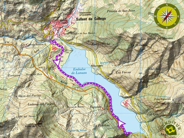 Topographic Map of the Natural Path of Lanuza Reservoir