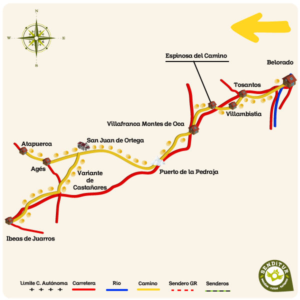 Map of Stage 10 Belorado-Atapuerca of the French Way