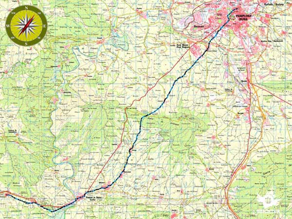 Topographical Map Stage 4 Pamplona-Puente la Reina-Cirauqui of the French Way