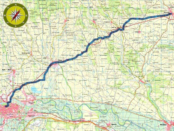 Topographical Map Stage 6 Los Arcos-Logroño of the French Way
