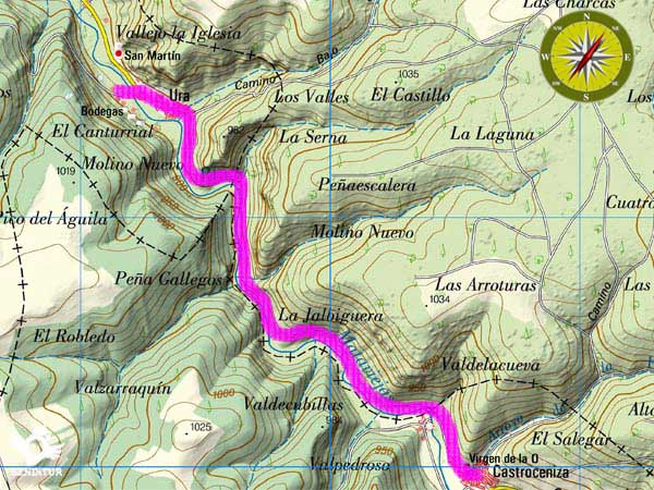 Topographic map with the route Gorge of Mataviejas