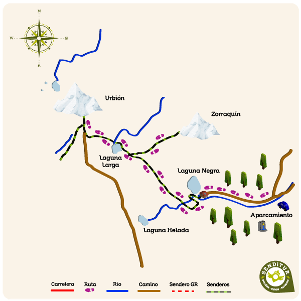 Map of the ascent to Urbión from Black Lagoon