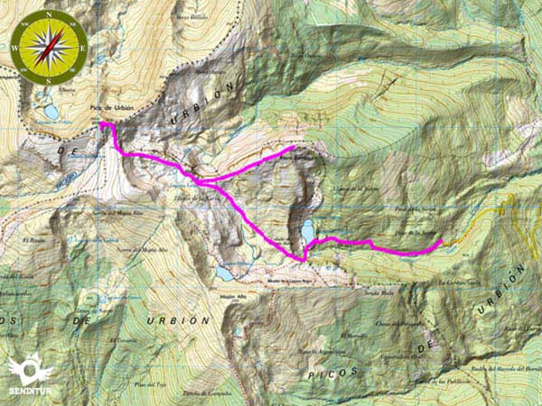 Topographic map with the route Ascent to Urbión from Black Lagoon