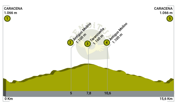 Profile of the route of the Canyon of Caracena