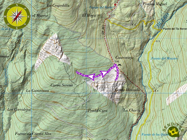 Topographic map with the route Castroviejo and Cave Serena