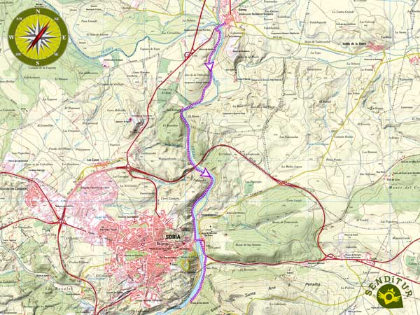 Topographic map of the Trail of the Duero from Garray to Soria