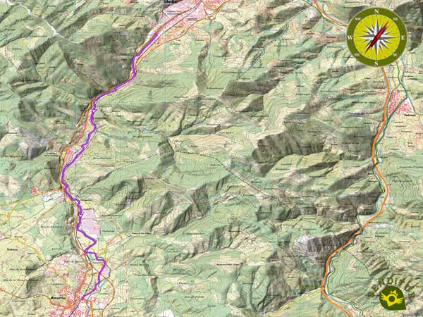 Topographic map of the Route of the Linear Park of the Nervión