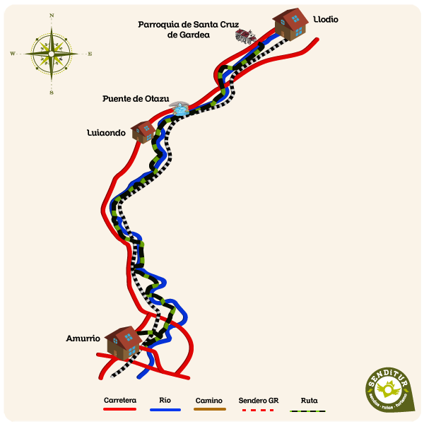 Map of the Route of the Linear Park of the Nervión