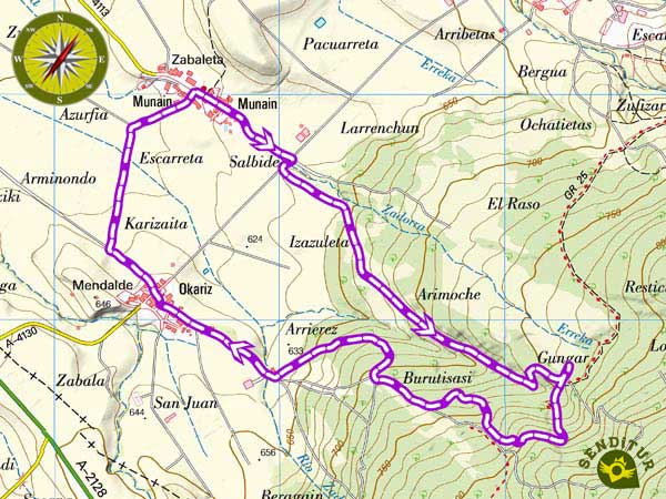 Topographic map with the route of the Route of the Centenary Oaks