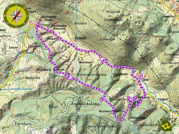 Topographic map with the Painted Forest of Oma route