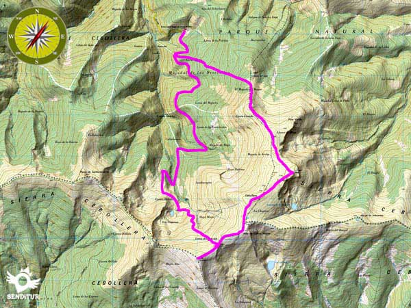 Topographical map with the route Climb to Cebollera from Lomos de Orio