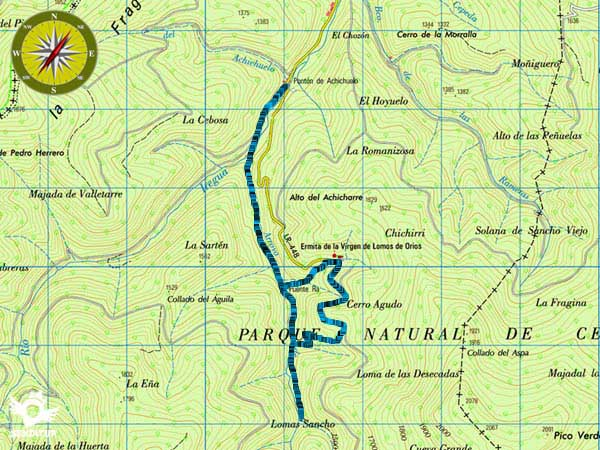 Topographic map of the route Puente Ra Waterfalls