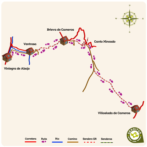 Map of the GR 190 Section 3 Viniegra de Abajo-Villoslada de Cameros
