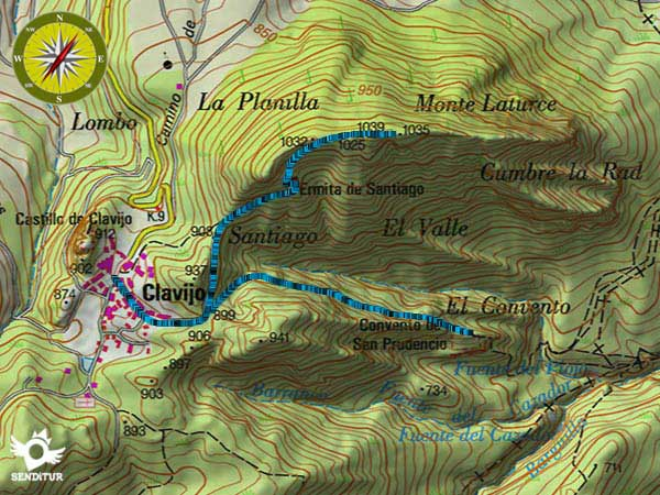 Topographic Map of the Path of the Peñas de Clavijo