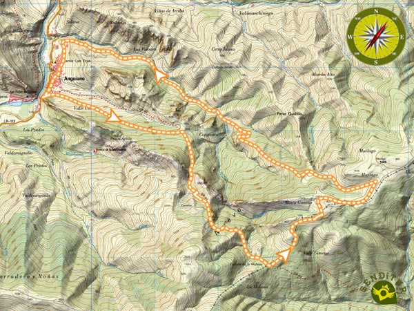 Topographic map of the Route of the Serradero