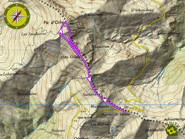 Topographic map with the route Mount Ori from the col of Larrau