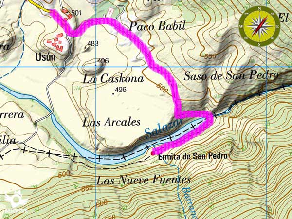 Topographic map with the route Foz of Arbayún