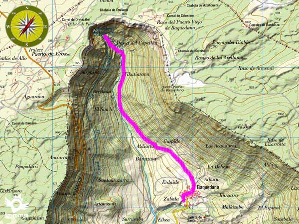 Topographic map with the route Source of the Urederra