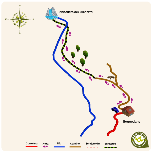 Map of the route of the Source of the Urederra