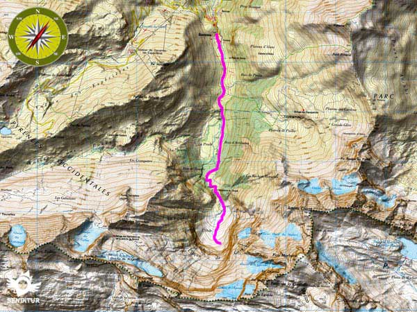 Topographic map with the route of the Waterfall of Gavarnie